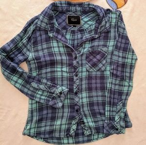 Rails Charli Blue Plaid Long Sleeve Fitted Small